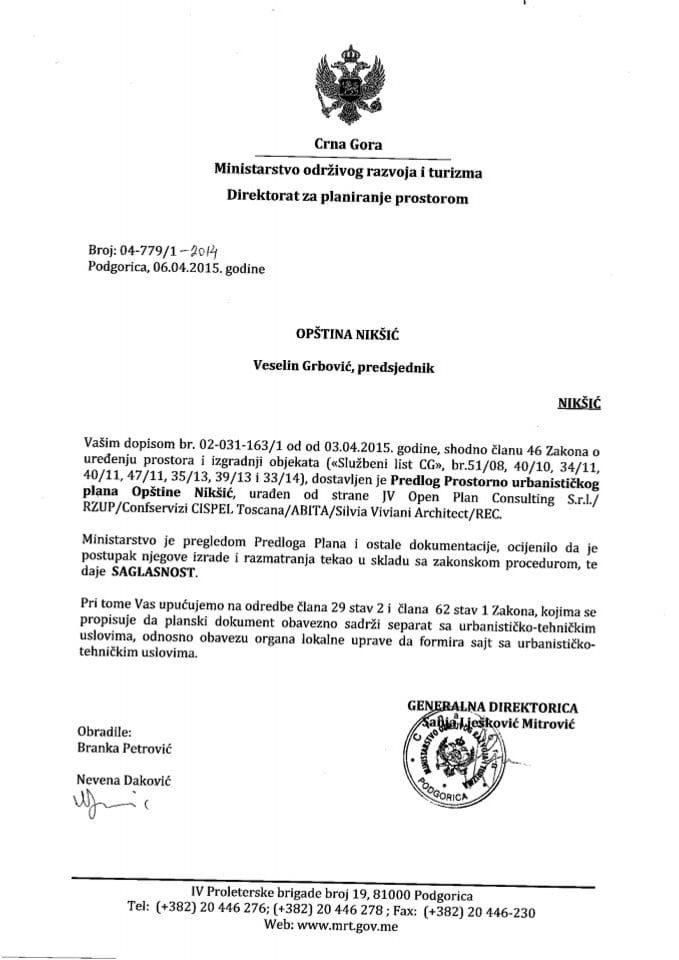 04_779_1_2014 Saglasnost na Predlog PUP-a Niksic Opstina Niksic