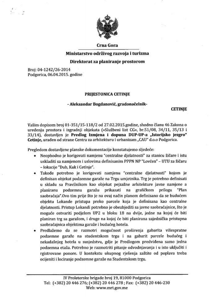 04_1242_26_2014 Predlog IID DUP-UP-a Istorijsko jezgro Cetinja Prijestonica Cetinje