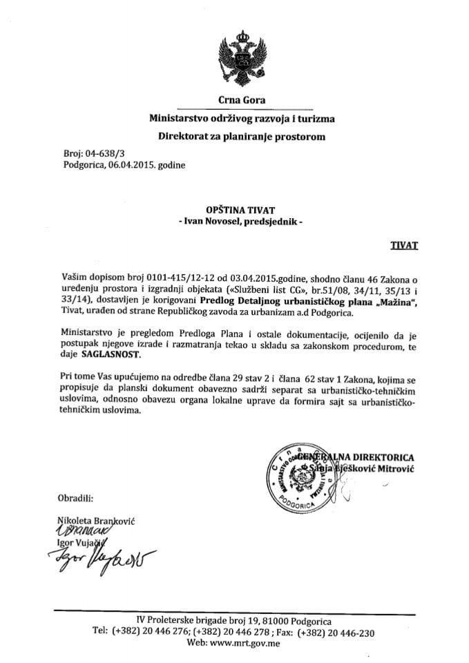 04_638_3 Saglasnost na Predlog DUP-a Mazina Opstina Tivat