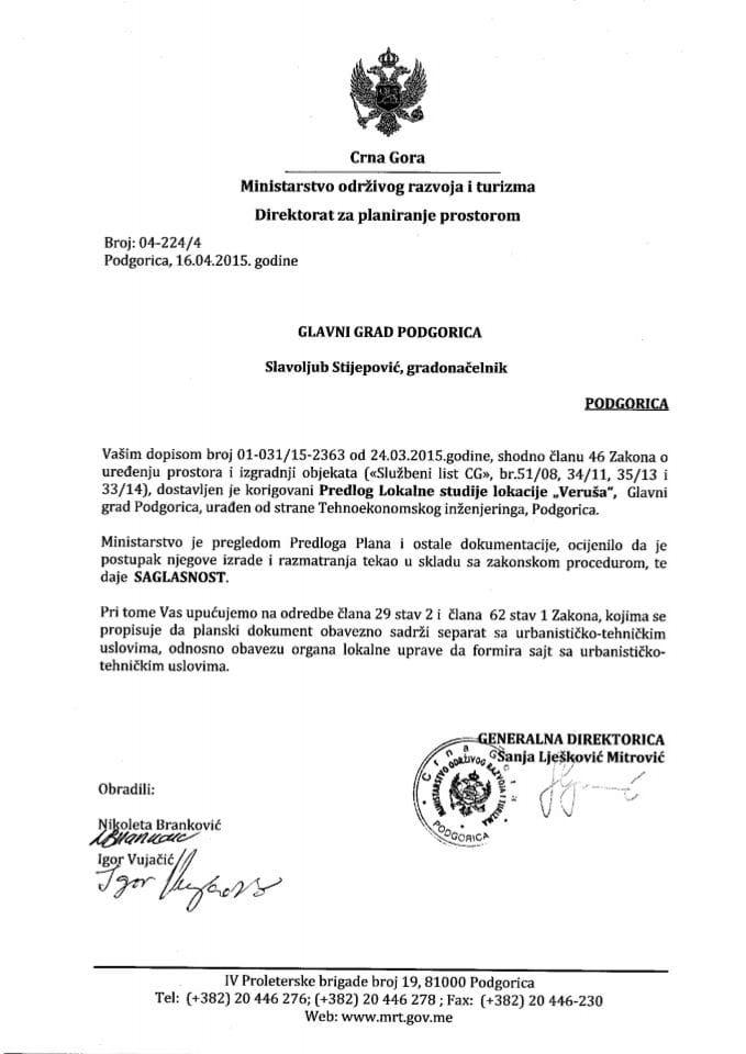 04_224_4 Saglasnost na Predlog LSL Verusa Glavni grad Podgorica