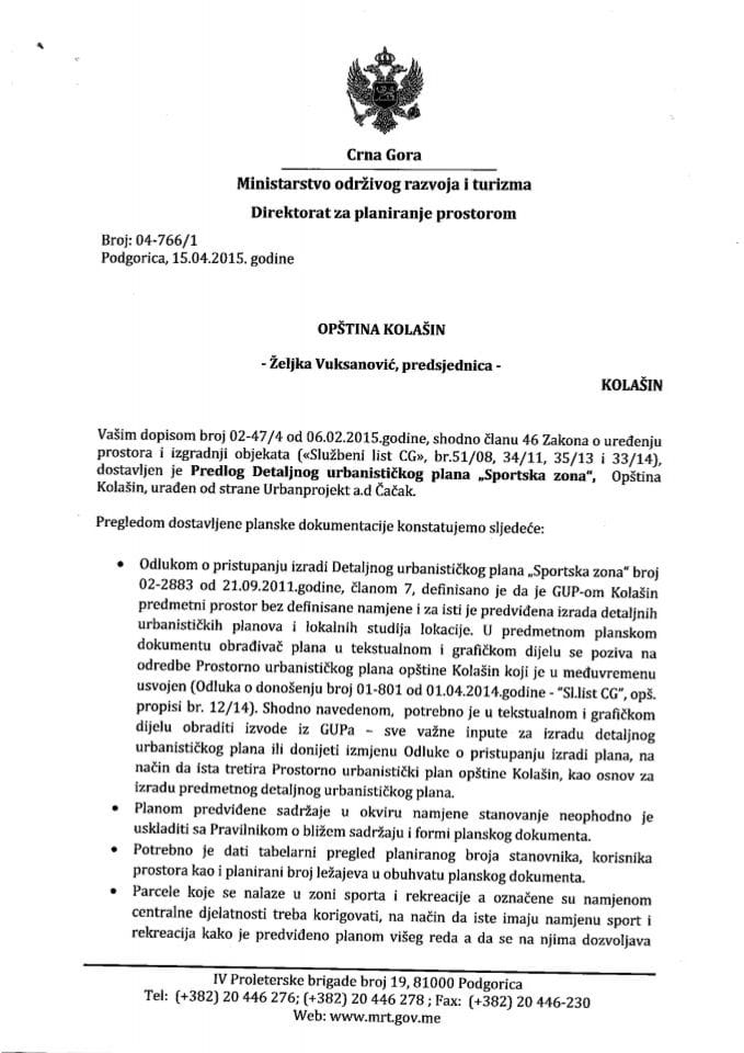 04_766_1 Predlog DUP-a Sportska zona Opstina Kolasin