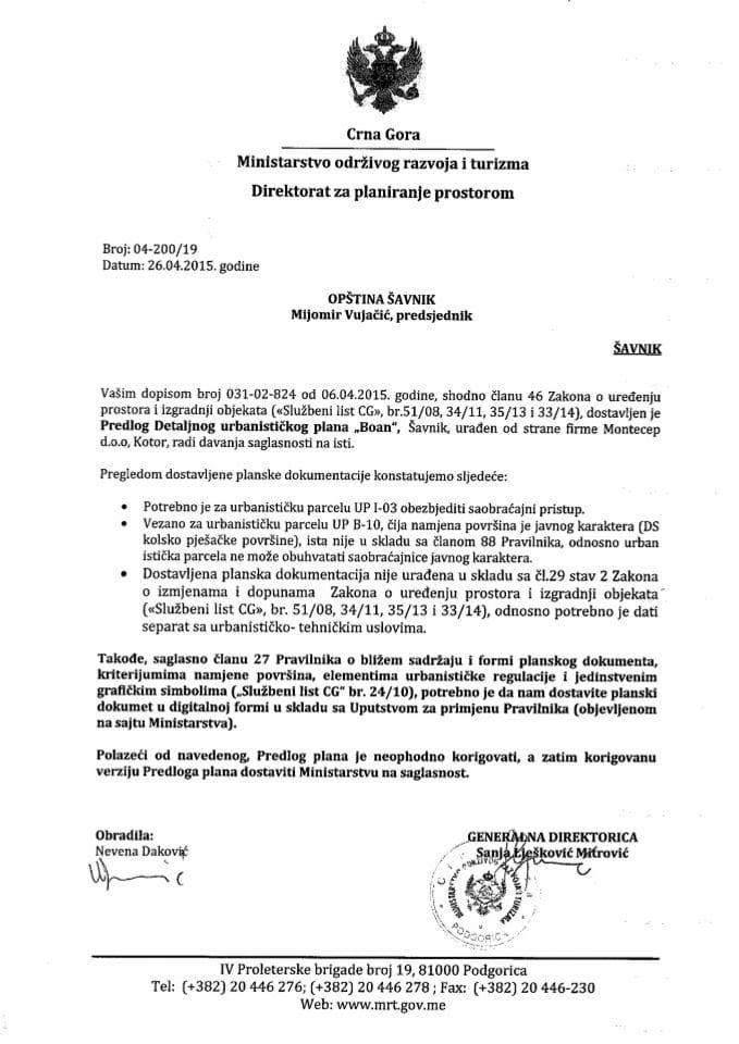 04_200_19 Predlog DUP-a Boan Opstina Savnik