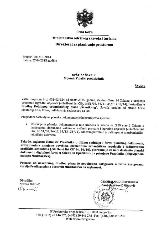 04_201_18_2014 Predlog DUP-a Savnik jug Opstina Savnik