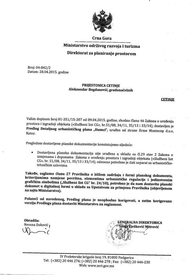 04_842_1 Predlog DUP-a Humci Prijestonica Cetinje