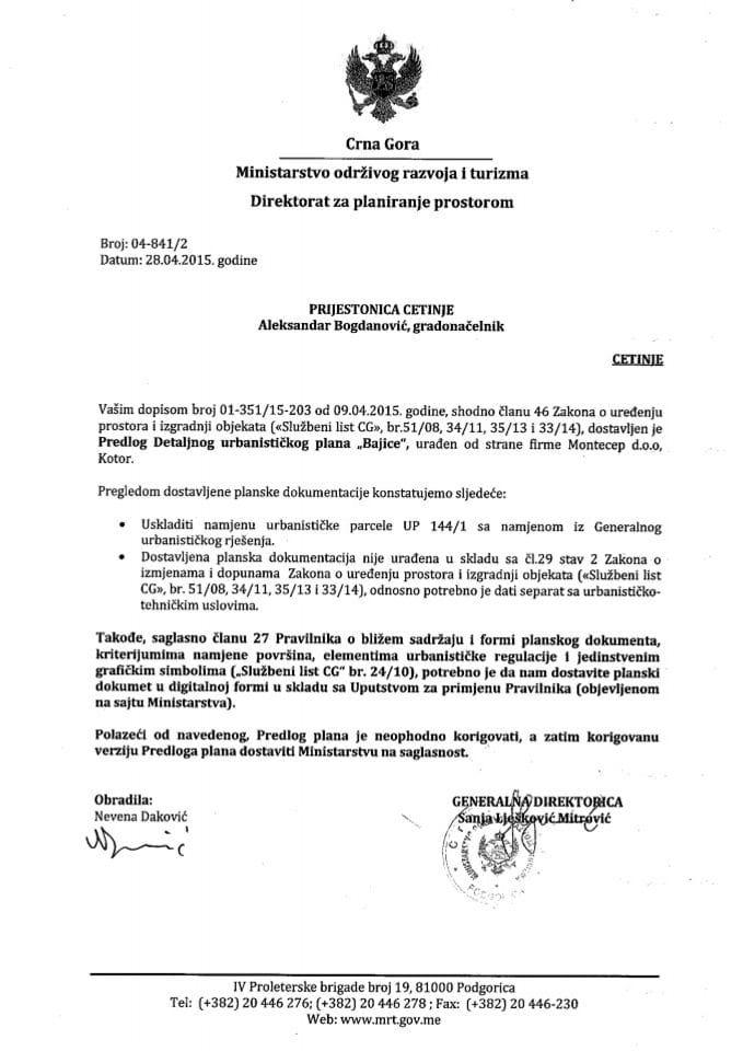 04_841_2 Predlog DUP-a Bajice Prijestonica Cetinje