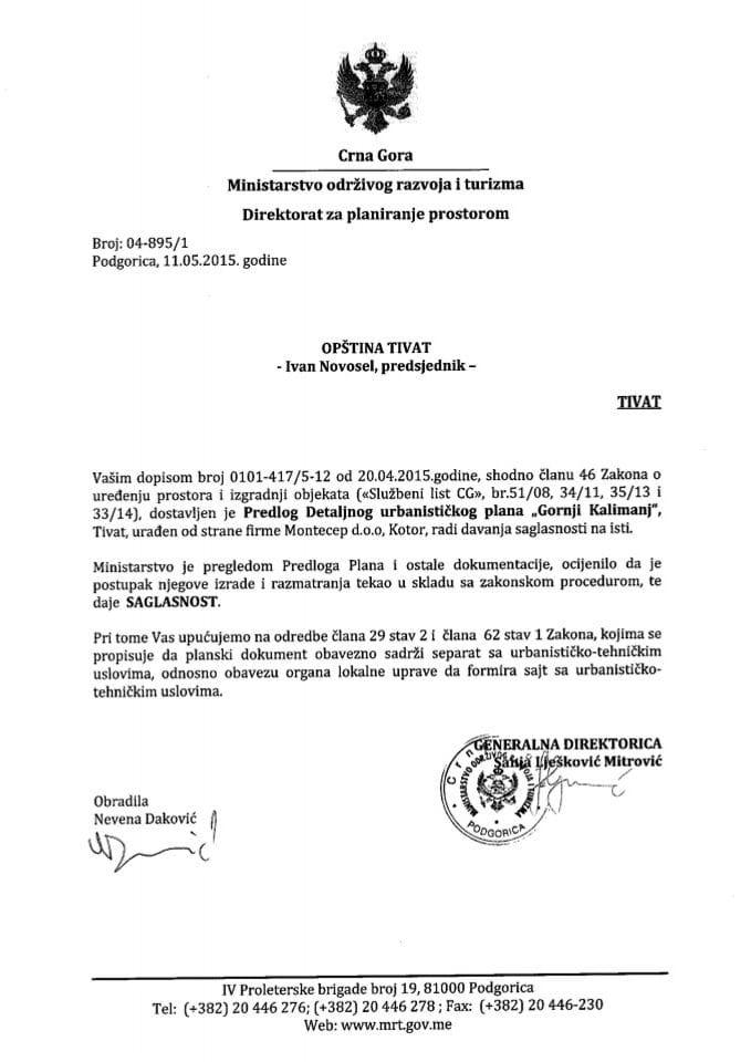 04_895_1 Saglasnost na Predlog DUP-a Gornji Kalimanj Opstina Tivat