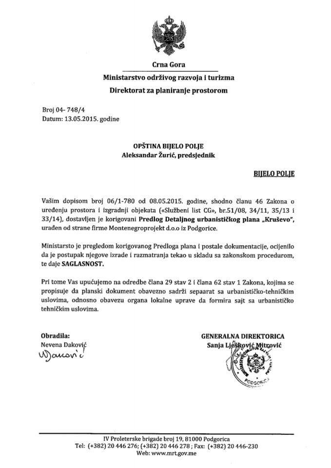 04_748_4 Saglasnost na Predlog DUP-a Krusevo Opstina Bijelo Polje