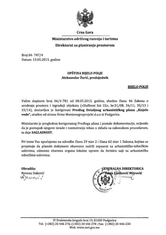 04_747_4 Saglasnost na Predlog DUP-a Kisjele vode Opstina Bijelo Polje