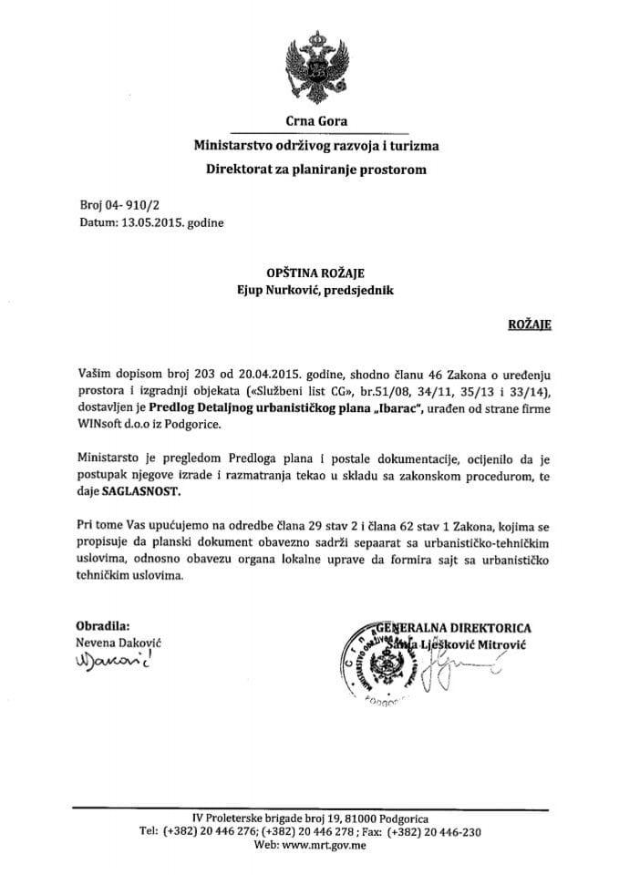 04_910_2 Saglasnost na Predlog DUP-a Ibarac Opstina Rozaje