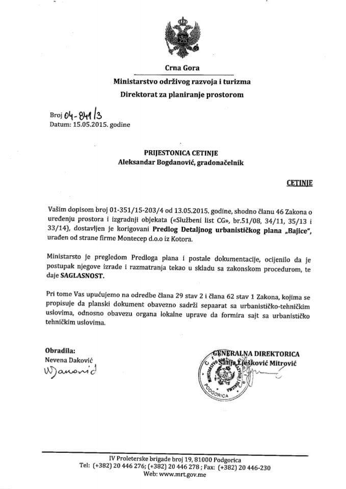 04_841_3 Saglasnost na Predlog DUP-a Bajice Prijestonica Cetinje
