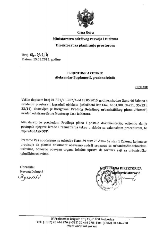 04_842_4 Saglasnost na Predlog DUP-a Humca Prijestonica Certinje