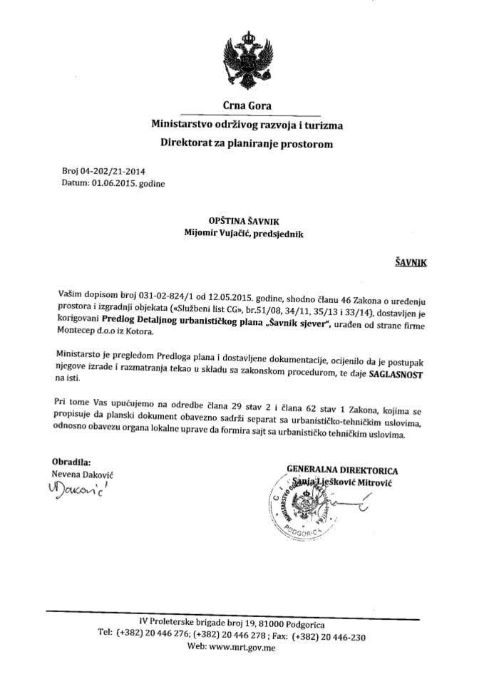 04_202_21_2014 Saglasnost na Predlog DUP Savnik sjever Opstina Savnik
