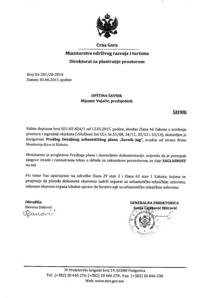 04_201_20_2014 Saglasnost na Predlog DUP-a Savnik jug Opstina Savnik