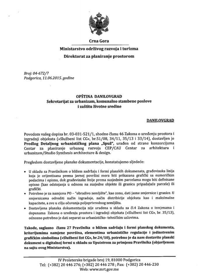 04_672_7 Predlog DUP-a Spuz Opstina Danilovgrad