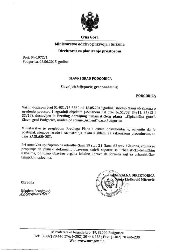 04_1072_1 Saglasnost na Predlog DUP-a Sipcanicka gora Glavni grad Podgorica