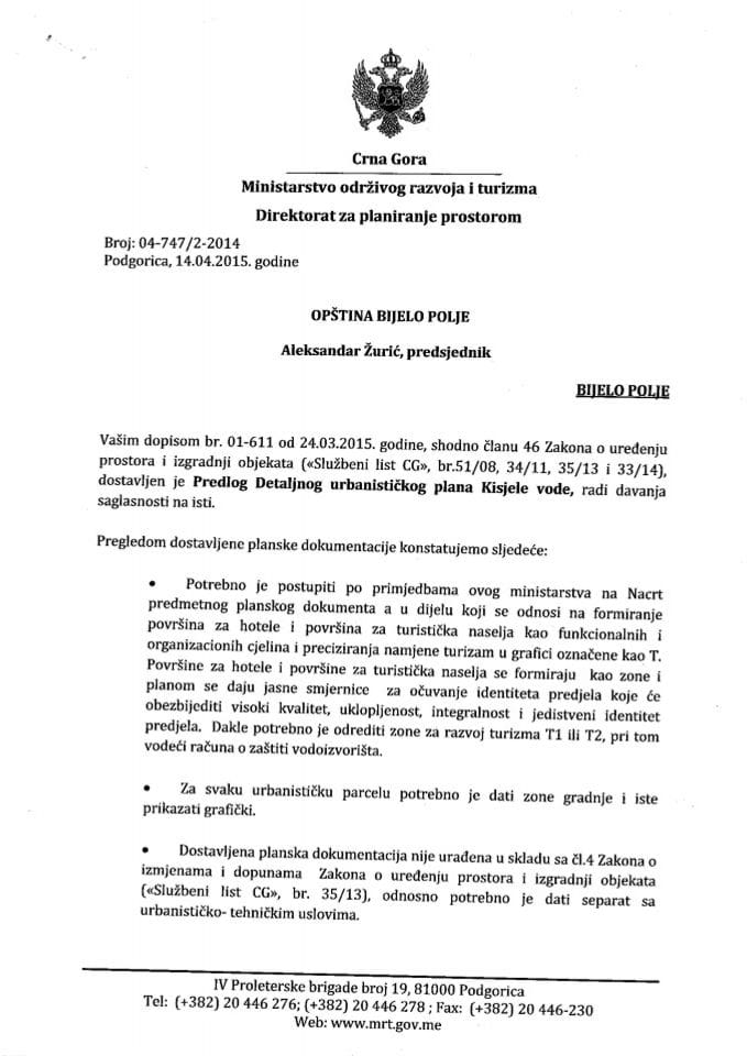 04_747_2_2014 Predlog DUP-a Kisjele vode Opstina Bijelo Polje