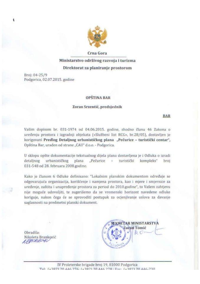 04_25_9 Predlog DUP-a Pecurice -turisticki centar Opstina Bar