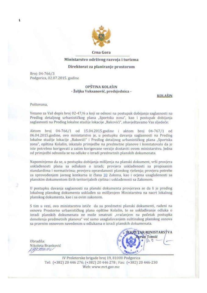 04_766_3 Predlog LSL Bakovici Opstina Kolasin