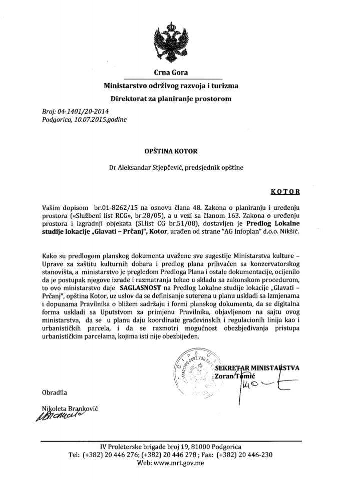 04_1401_20_2014 Saglasnost na Predlog LSL Glavati-Prcanj Opstina Kotor