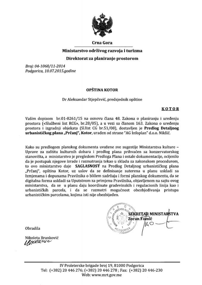 04_1068_11_2014 Saglasnost na Predlog DUP-a Prcanj Opstina Kotor