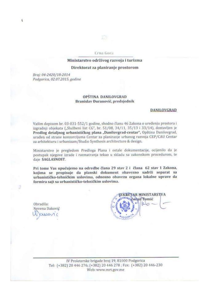 04_2420_18_2014 Saglasnost na Predlog DUP-a Danilovgrad centar Opstina Danilovgrad