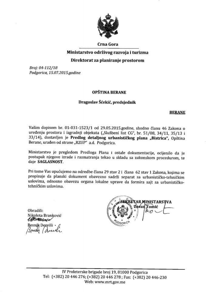 04_112_18 Saglasnost na Predlog DUP Bistrica Opstina Berane