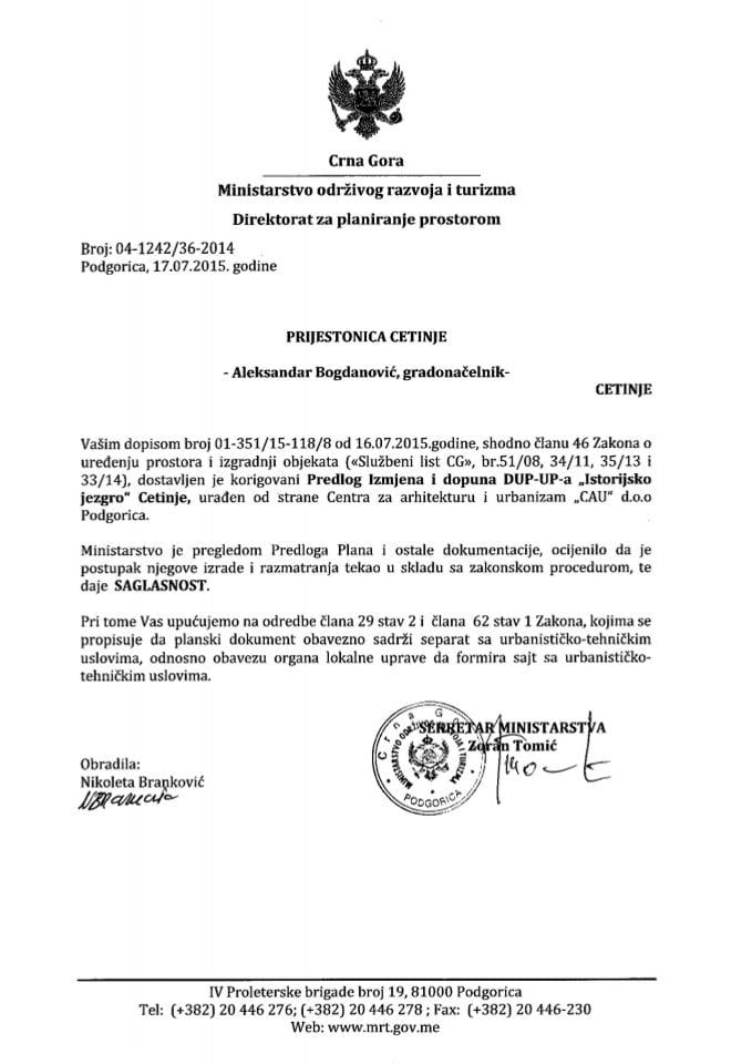 04_1242_36_2014 Saglasnost na Predlog IID DUP-UP-a Istorijsko jezgro Prijestonica Cetinje