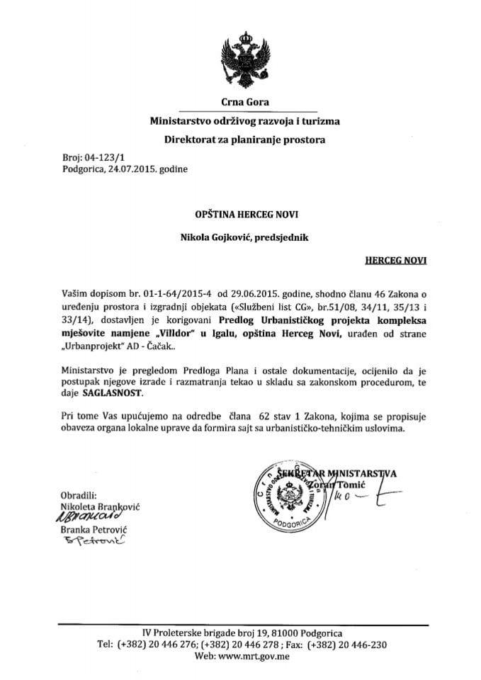 04_123_1 Saglasnost na Predlog UP kompleksa mješovite namjene Villdor u Igalu