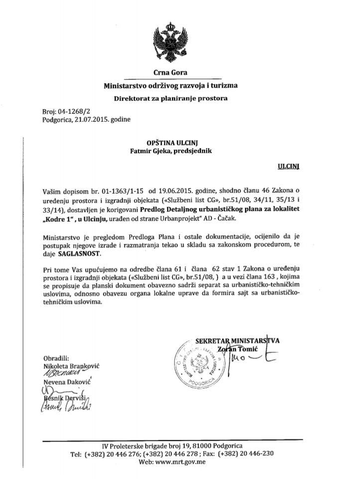 04_1268_2 Saglasnost na Predlog DUP-a Kodre 1 - Opština Ulcinj