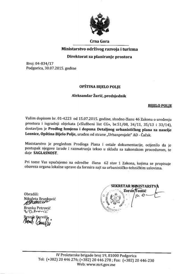 04_834_17 Saglasnost na Predlog IID DUP-a za naselje Loznice, Opština Bijelo Polje