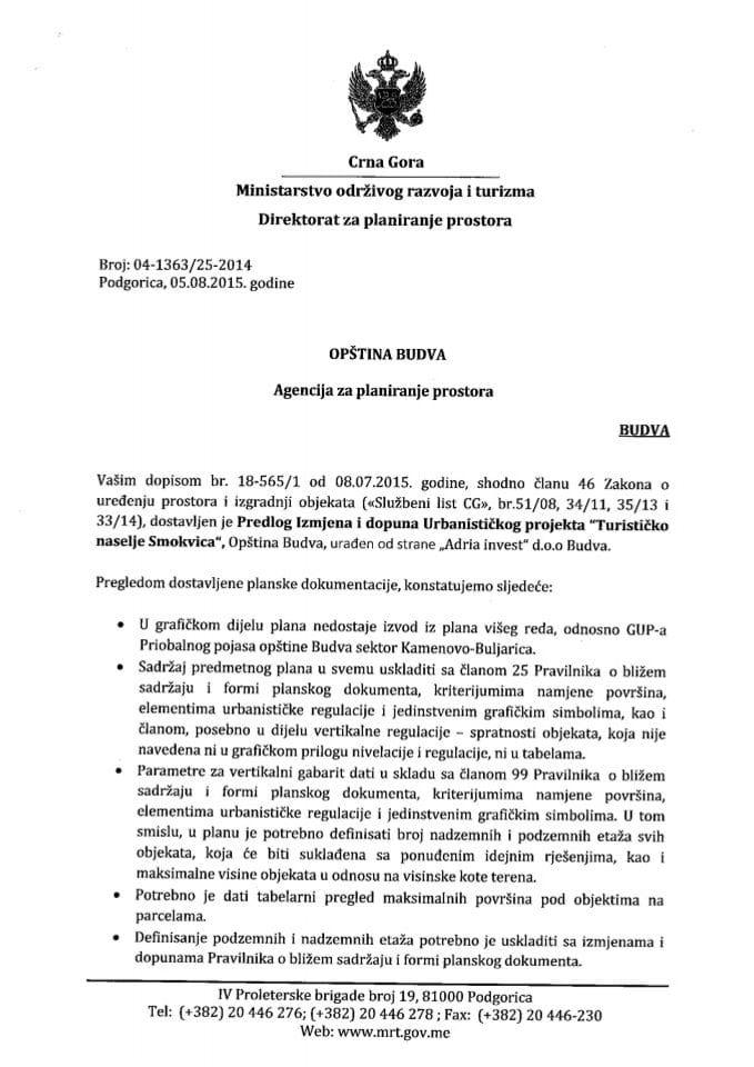 04_1363_25_2014 Predlog Izmjena i dopuna UP TN Smokvica Opstina Budva