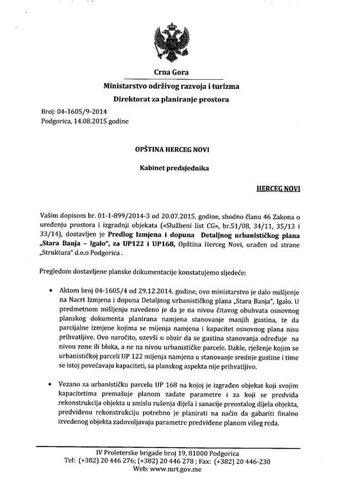 04_1605_9_2014 Predlog IID DUP-a Stara Banja - Igalo Opstina Herceg Novi