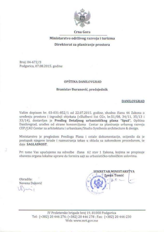 04_672_9 Saglasnost na DUP Spuž - Opština Danilovgrad