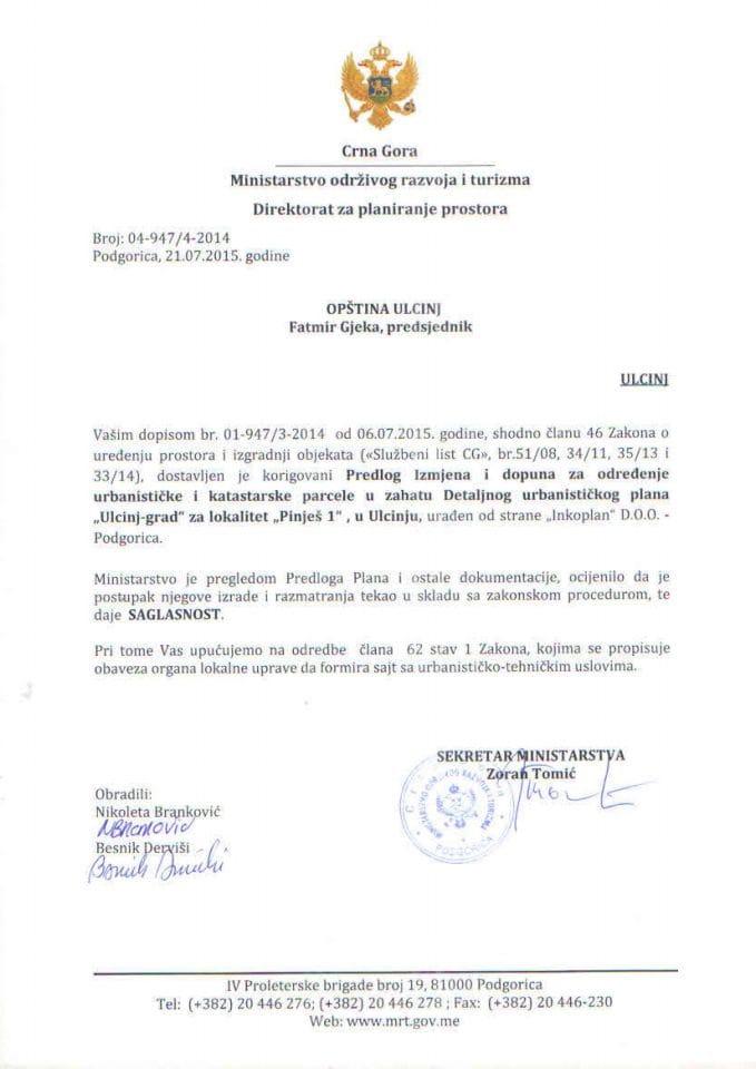 04_947_3_2014 Saglasnost na Predlog IID  Pinješ 1- Opština Ulcinj