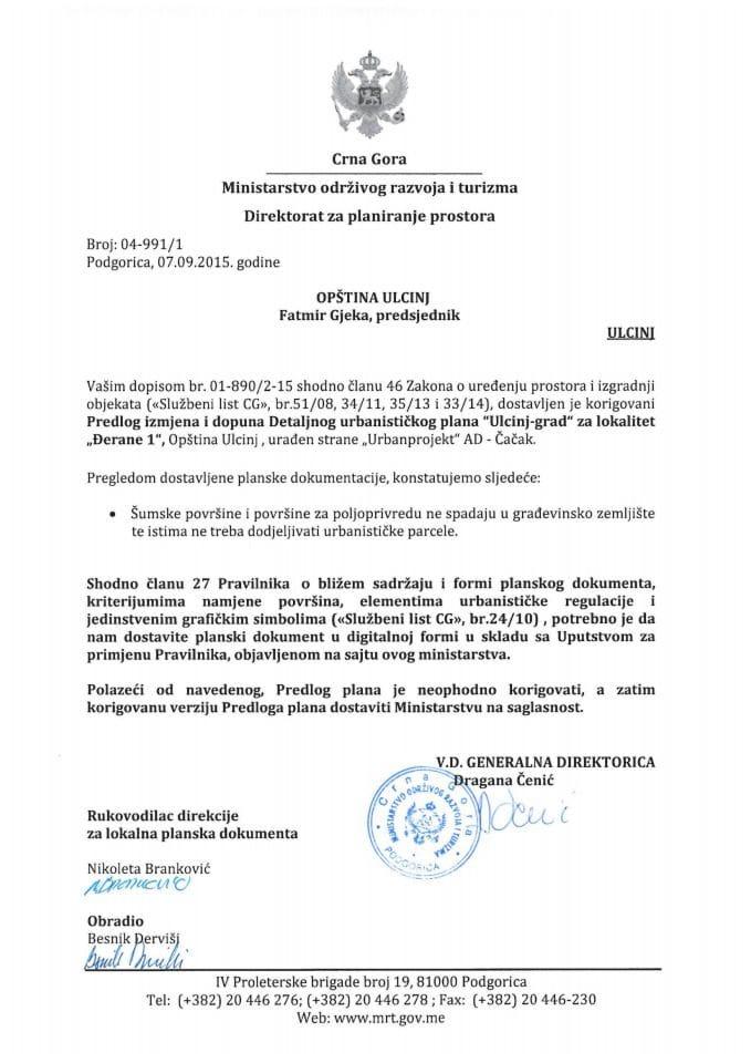 04_991_1 Predlog IID DUP-a Ulcinj grad za lokalitet Djerane 1 Opstina Ulcinj