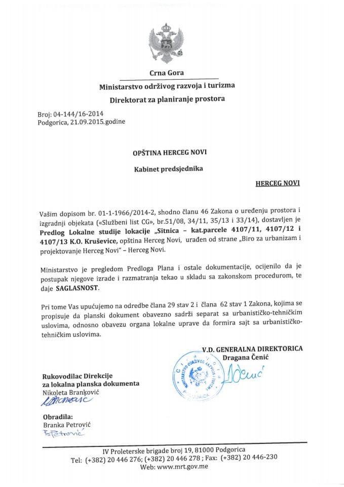 04_144_16_2014 Saglasnost na Predlog LSL Sitnica Opstina Herceg Novi