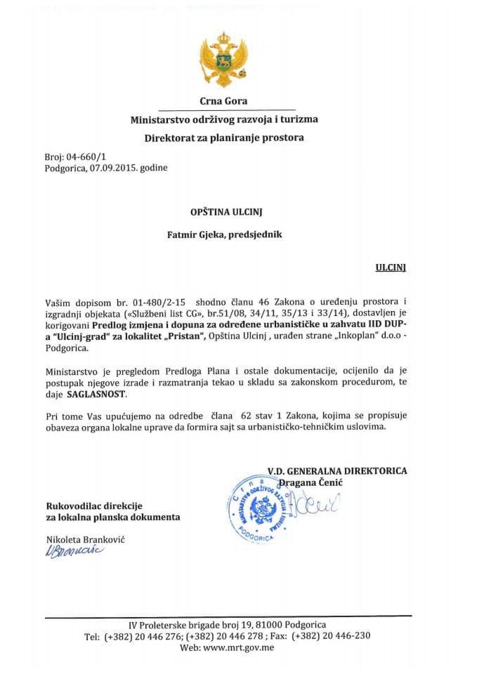 04_660_1 Saglasnost na Predlog IID DUP-a Ulcinj grad za odredjene up za lokalitet Pristan
