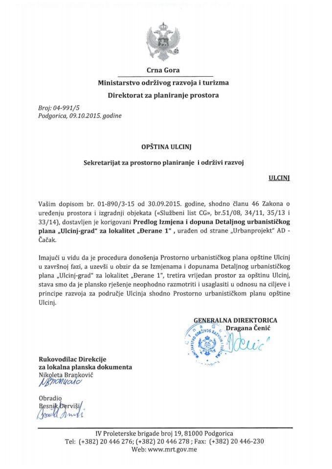 04_991_5 Predlog Izmjena i dopuna Detaljnog urbanistickog plana 'Ulcinj grad' za lokalitet 'Derane 1', Ulcinj