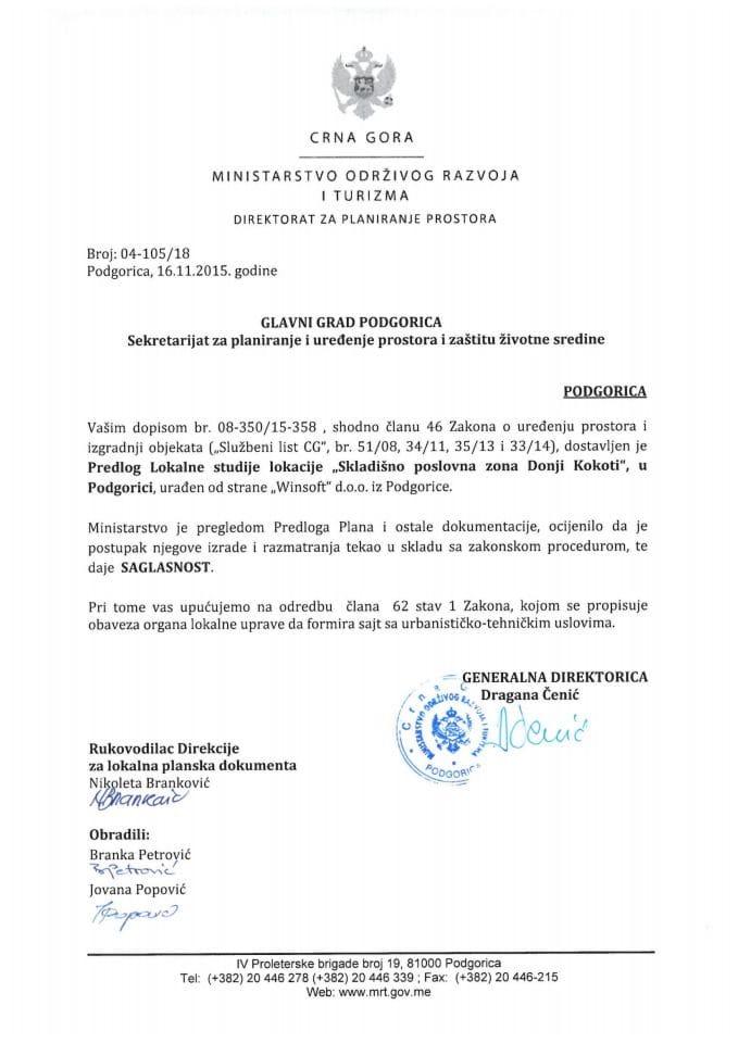 04-105_18 Saglasnost na Predlog LSL Skladisno poslovna zona Donji Kokoti