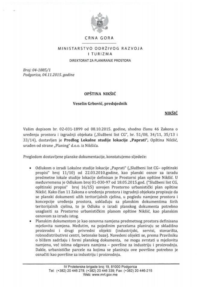 04_1885_1 Predlog LSL Paprati Opstina Niksic