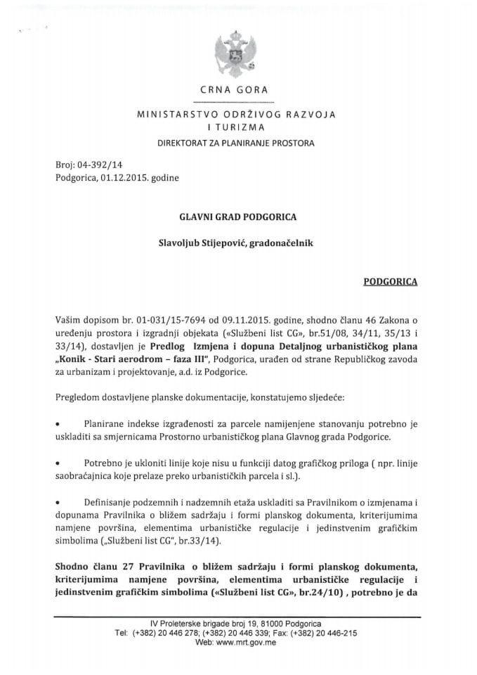 04_392_14 Predlog IID DUP-a  Konik-Stari aerodrom- faza III Glavni grad Podgorica