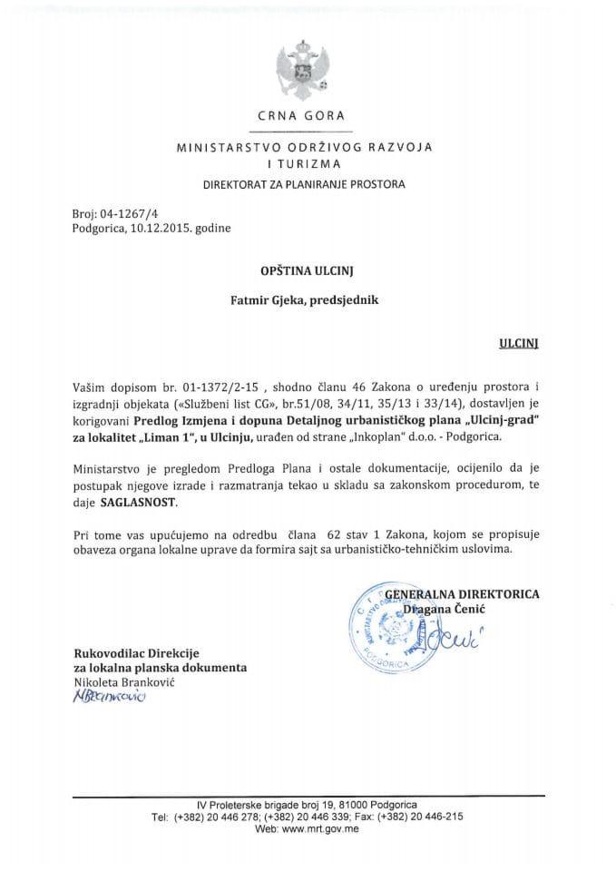 04_1267_4 Saglasnost na Predlog IID DUP-a 'Ulcinj-grad' za lokalitet Liman 1 opstina Ulcinj