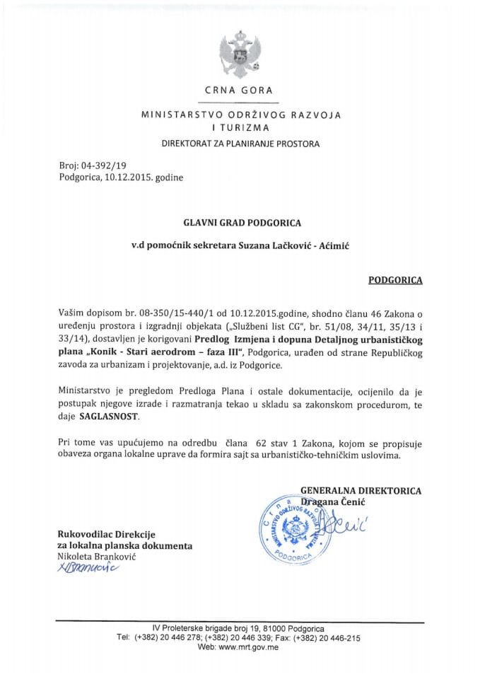 04-392_19 Saglasnost na Predlog IID DUP-a Konik Stari Aerodrom faza III