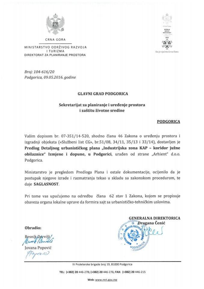 104_616_20 Saglasnost na Predlog IID DUP Industrijska zona KAP - koridor juzne obilaznice