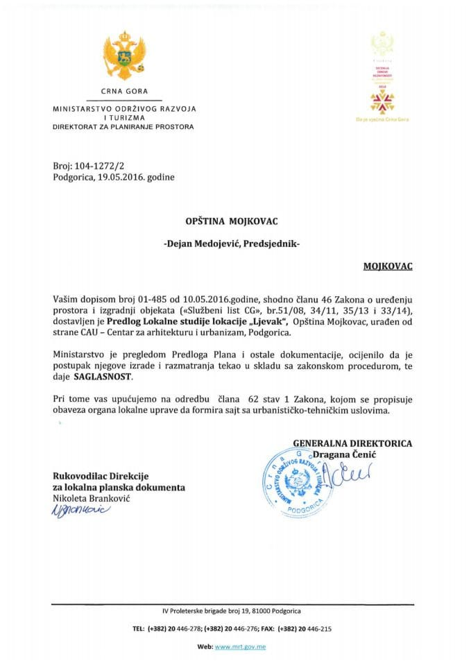 104-1272_2 Saglasnost na Predlog LSL Ljevak Opstina Mojkovac