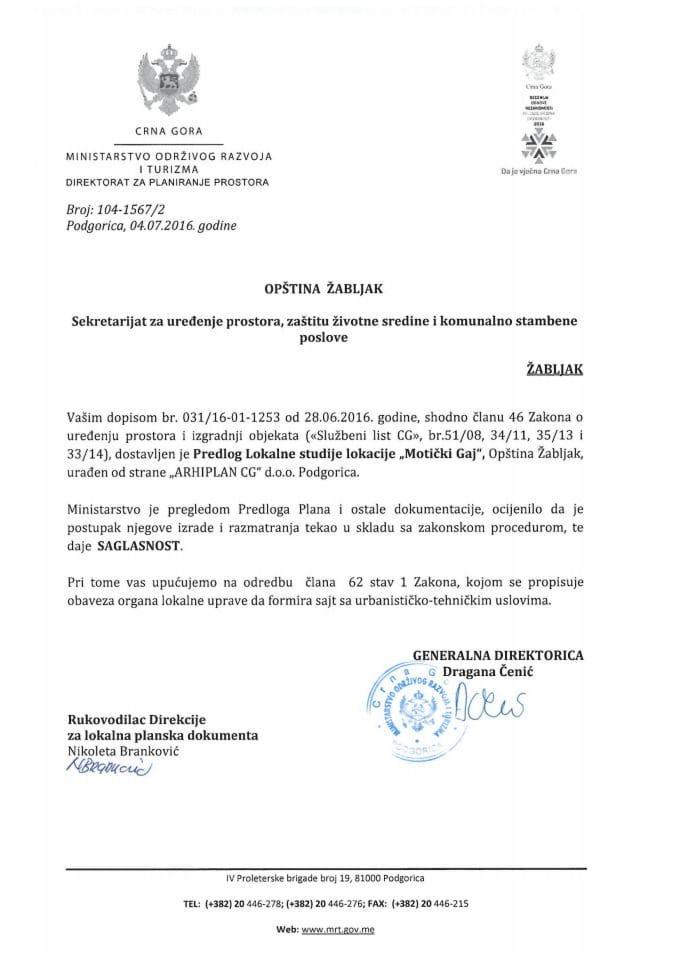 104_1567_2 Saglasnost na Predlog LSL Moticki Gaj Opstina Zabljak