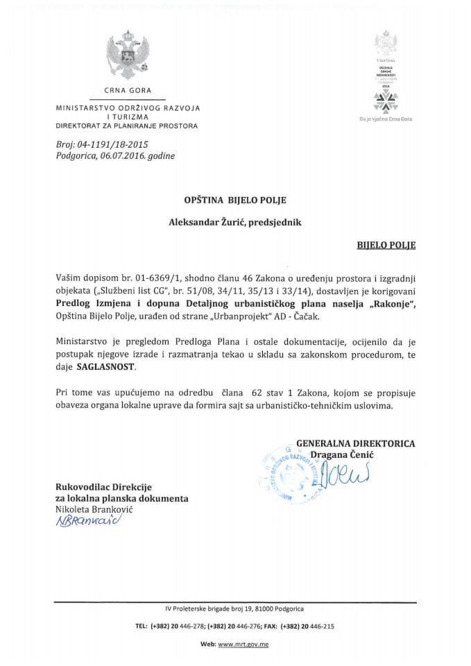 04-1191_18-2015 Saglasnost na Predlog IID DUP Rakonje, Bijelo Polje