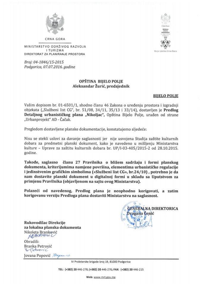 04-1846_15-2015 Predlog DUP Nikoljac, Bijelo Polje
