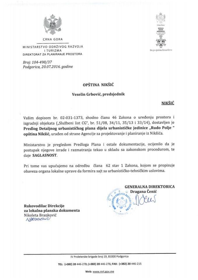 104 498 37 Saglasnost na Predlog DUP dijela urbanisticke jedinice Rudo Polje opstina Niksic