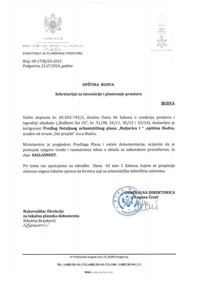 04_1738_20_2013 Saglasnost na Predlog DUP  Buljarica I, Budva
